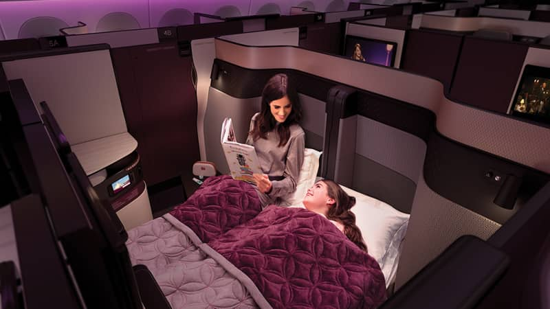QSuite on Qatar Airways features the option to convert two seats into a double bed.
