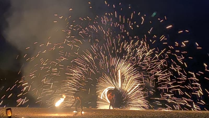 Performers put on a fire show for guests of the InterContinental Phuket Resort.