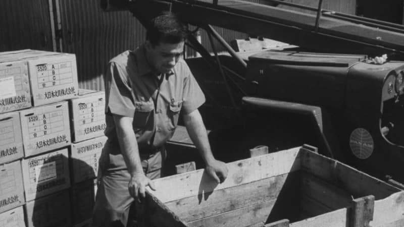 A Pan Am service representative examines the crate that Brian Robson was found in back in 1965.