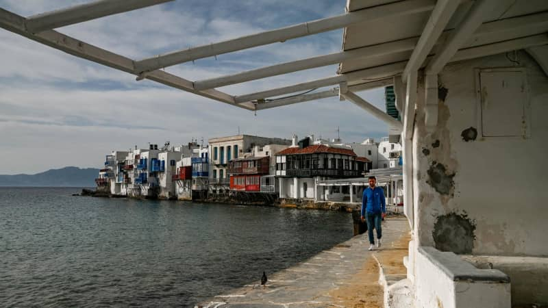 The party island of Mykonos, pictured here in May 2020, took in less than a third of its usual tourism revenue last year.