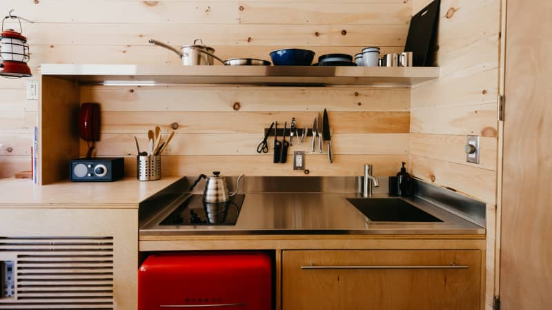 Each cabin features a kitchenette.