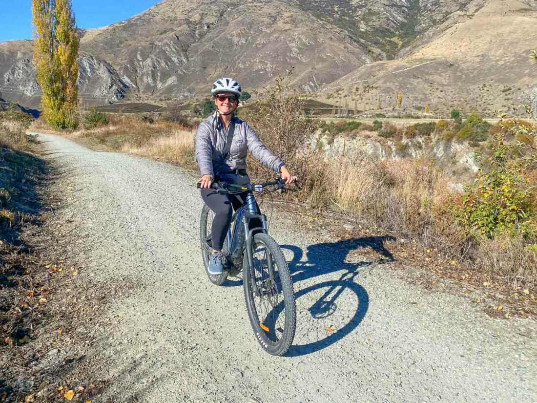 Cycling the Gibbston Valley Trail in my Allbirds Wool Runner Mizzles