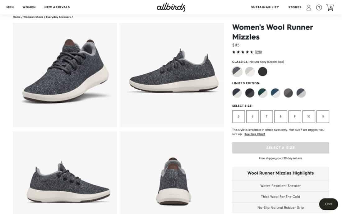 Allbirds Wool Runner Mizzles page on website