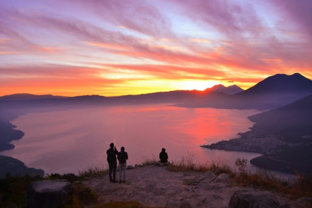 sunrise hike to Indian Nose nearby the Lake Atitlan
