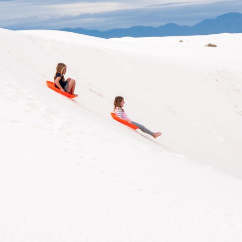 Sand Sledding or Sand Boarding White Sands National Park