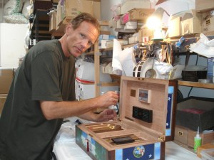 DM working on a humidor for Arnold Schwartzenager