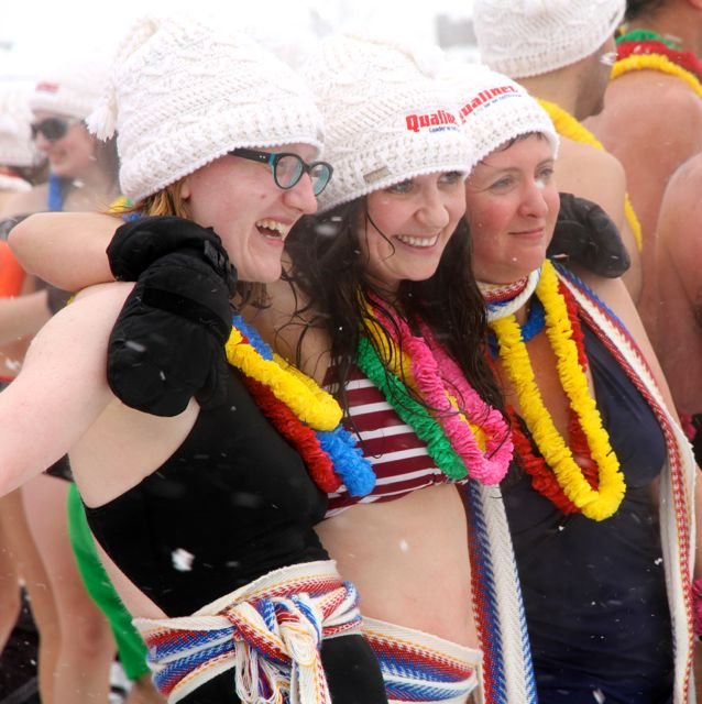In our swimsuits at Snow Bath Carnival Bain de Neige