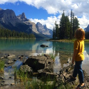 Finn enjoying the beauty of Maligne Lake