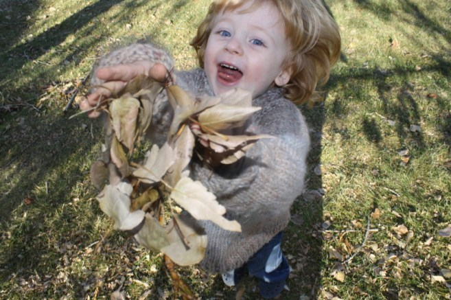 Boy throwing leaves fall picture Finnigan