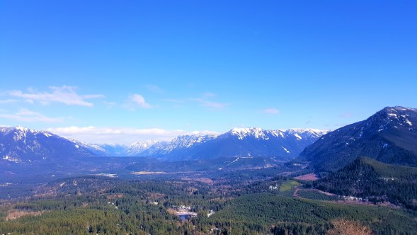 View of Snoqualmie Valley from Rattlesnake Ledge. Snow Hiking to Rattlesnake Ledge