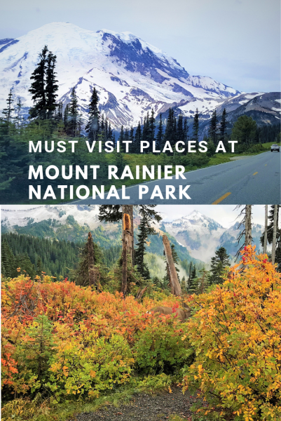 Must visit places at Mount Rainier National Park near Seattle. State of Washington.  Mount Rainier National Park Attractions. Visit Seattle, Active Volcano sight seeing places.