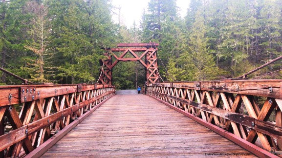 Nisqually River wooden suspension bridge  at Longmire village in Mount Rainier National Park, WA USA.