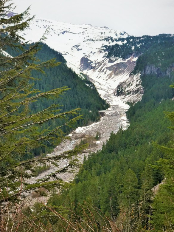 View of Glacier Bridge with Nisqually Glacier in background from Ricksecker View point at Mount Rainier National Park. Easy Hikes and Road side attractions at Mount Rainier.