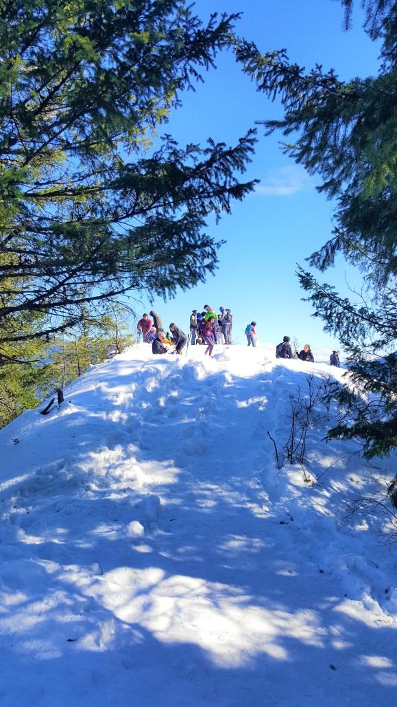 View of top on reaching Rattlesnake Ledge.  Snow Hiking to Rattlesnake Ledge
