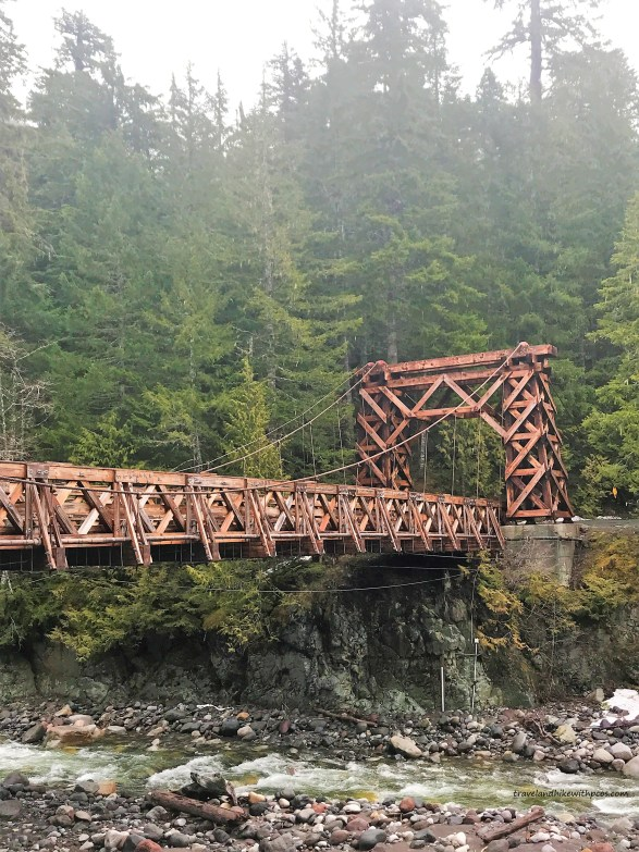 Old Surviving Wooden Suspension Bridge on Nisqually River