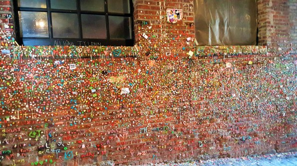 Gum Wall with gum art. Seattle downtown