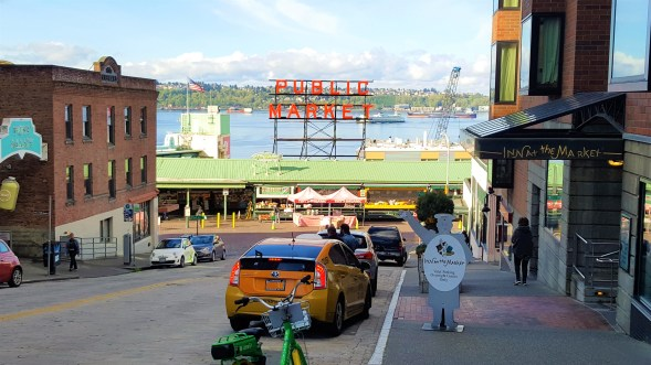 Pike Public Market at Seattle Downtown. Seattle attractions and Century old farmers market