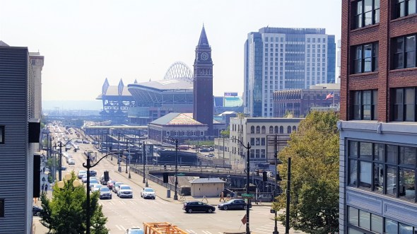 View of Century Link field from down street, Must visit places in Seattle Downtown