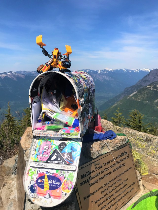 Transformer toy and Things left in Mailbox at Mailbox peak