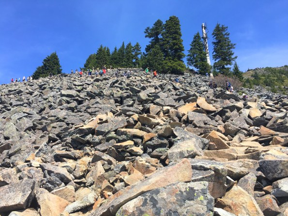 Hikers and Climbers on Boulder field at Mail Box peak trail