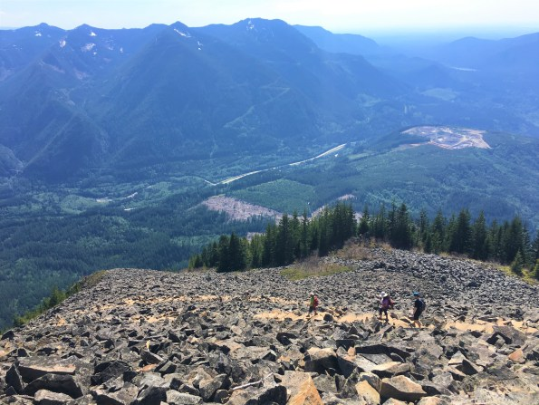 View  of Snoqualmie Valley and I-90 from top of Boulder field