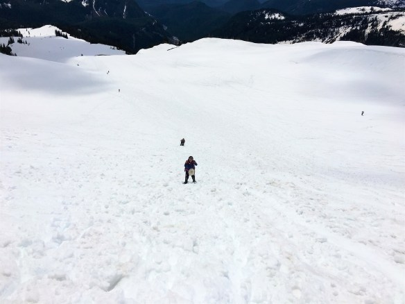 Stuck with snow shoes on hill at Panorama point