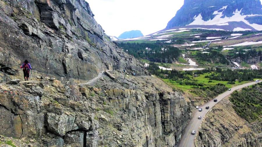 Narrow Ledge of Highline Trail Glacier National Park Montana