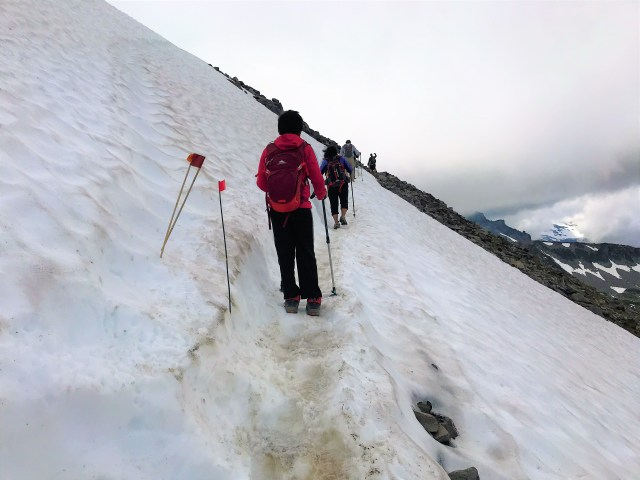 Snow patch on twisting turning trail on Burroughs Mountain