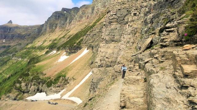 Start of thrilling part of Highline trail Glacier National Park