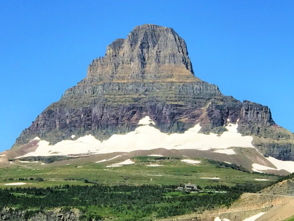 Stunning View of Clement Mountain with Logan Pass Visitor Center Glacier National Park