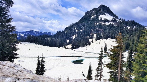 Tipsoo Lake Covered with Snow in Winter Mount Rainier National Park