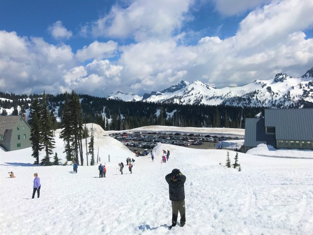 View of the Parking lot and Visitor Center at Paradise Mount Rainier National Park