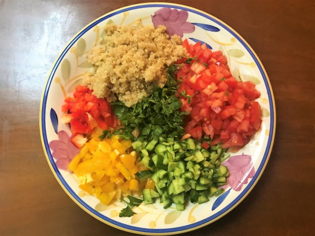Quinoa Salad with raw and chopped veggies.  Healthy Diet Plan for PCOS & Thyroid