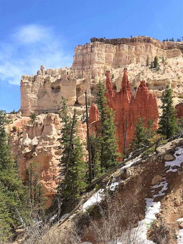 View of Bryce Point View Deck from Peek-A-Boo Loop Trail. You can see people standing over the rallings.. Best Hikes in Bryce Canyon National Park