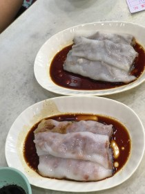 Steamed rice noodle rolls with BBQ pork and pig liver