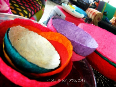 Bowls made of paper. Or was is paper mache? Whatever they were made of, they are quite colourful!