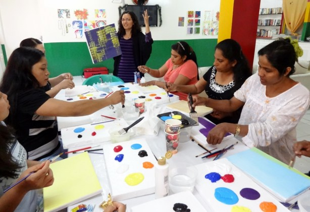 Art workshop held at West Coast women's labour camp in Mussafah, Abu Dhabi, on May 10, 2013.