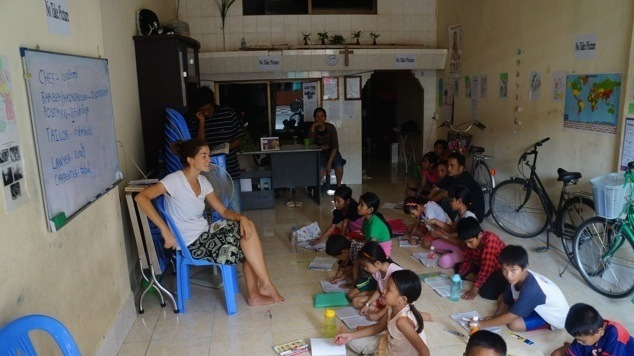 Kat teaching Phnom Penh, Cambodia