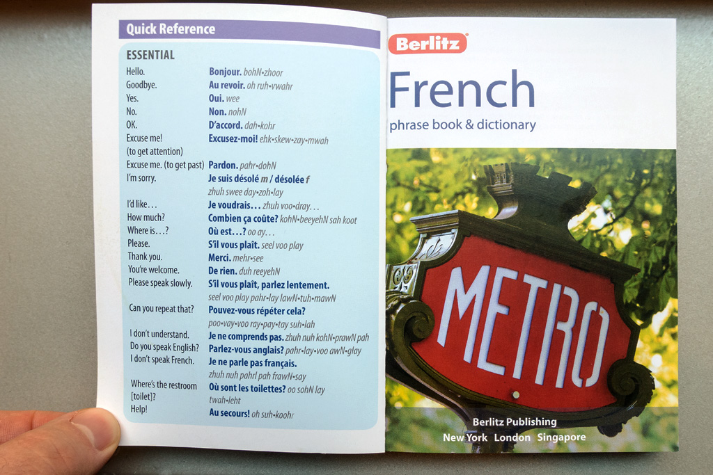 Inside Front Cover of Berlitz Phrase Book.