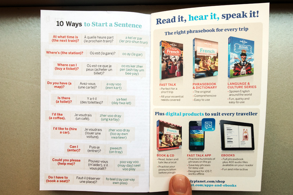 Inside Back Cover of Lonely Planet Phrasebook.