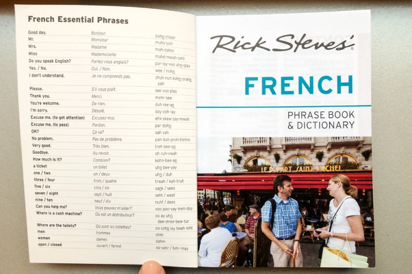 Inside Front Cover of Rick Steves Phrase Book.