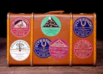 Vintage Luggage with Stickers