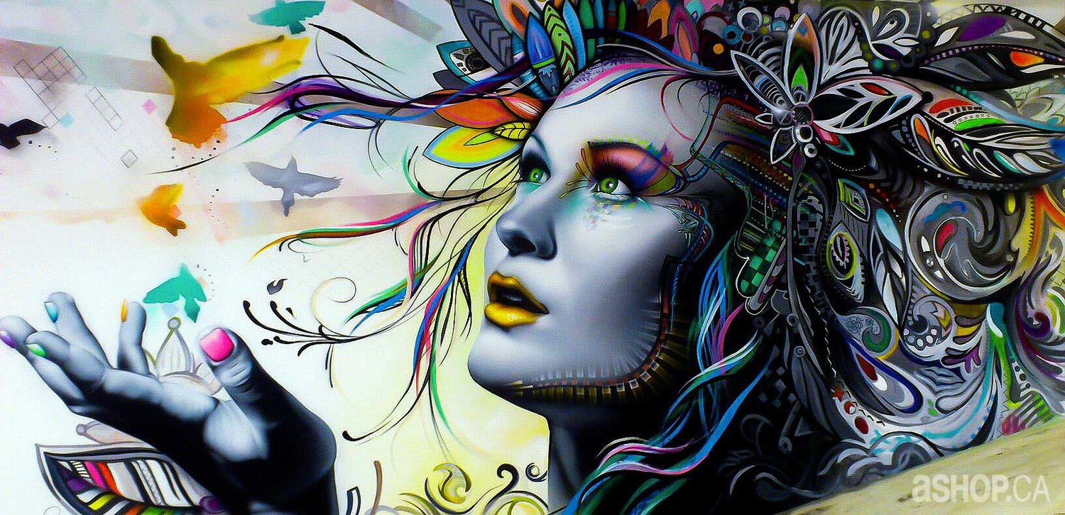 Psychedelic Girl Wallpaper Street Art Turns Sinuous Travel Between The Pages
