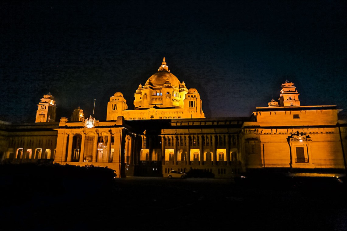 Umaid Bhawan exterior by night