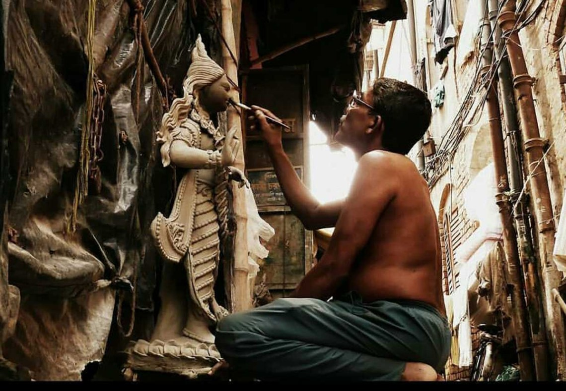 An idol in the making in Kumartuli
