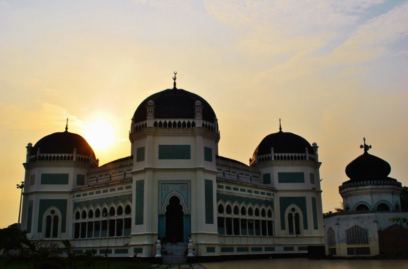 Sunset At The Great Mosque or Masjid Raya, Medan