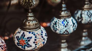 Colourful Arabian lamps at the local Qatar markets