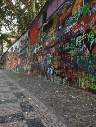Another view of Lennon Wall, a tribute to John Lennon