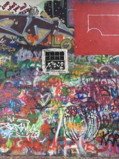 View of Lennon Wall, a tribute to Beatle John Lennon