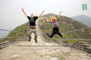 Jumping off the Great Wall of China